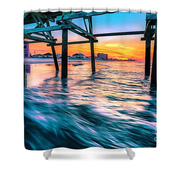 Sunrise Under Cherry Grove Pier Shower Curtain