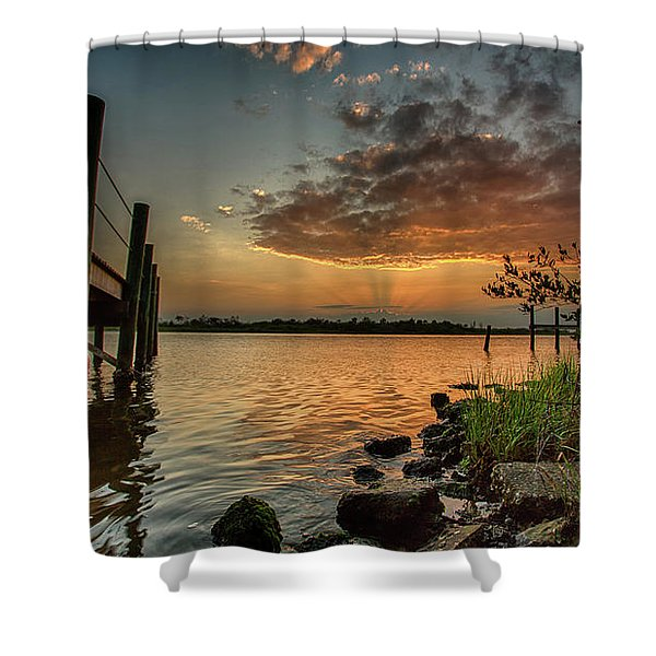 Sunrise Under The Dock Shower Curtain