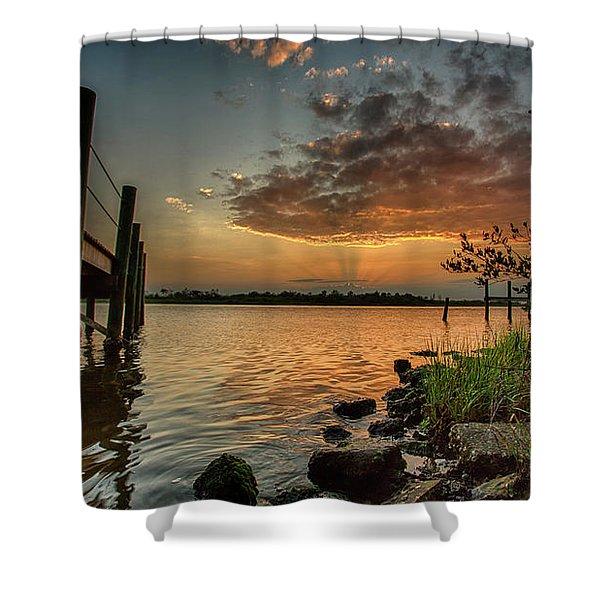Sunrise Under The Dock Shower Curtain