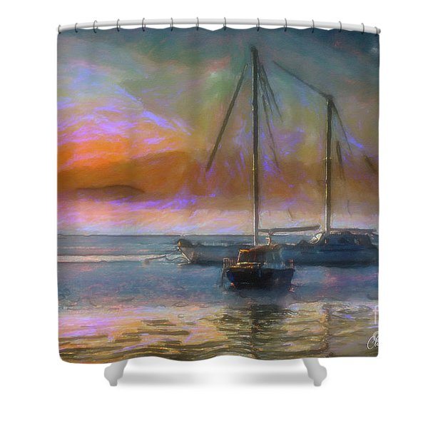 Sunrise With Boats Shower Curtain