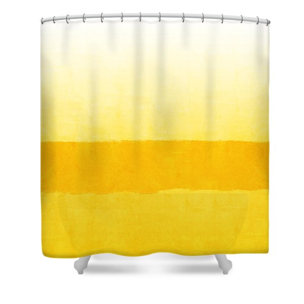 Sunrise- Yellow Abstract Art By Linda Woods Shower Curtain