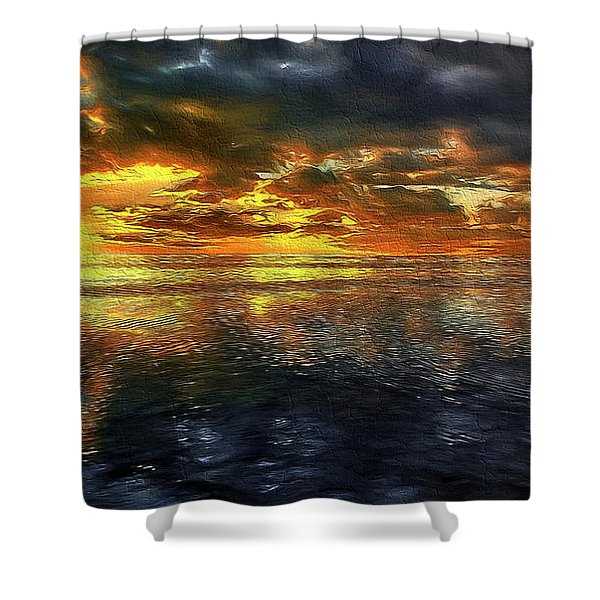 Sunset #95 Or Sunset Over The Atlantic. Shower Curtain