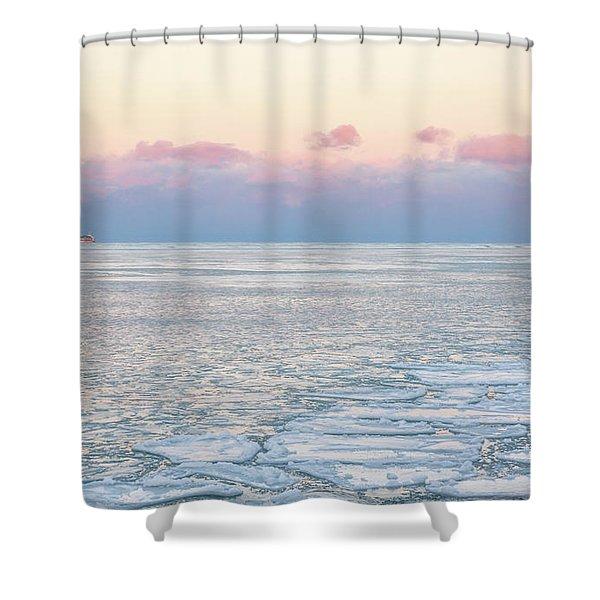 Sunset Across The Frozen Lake Shower Curtain