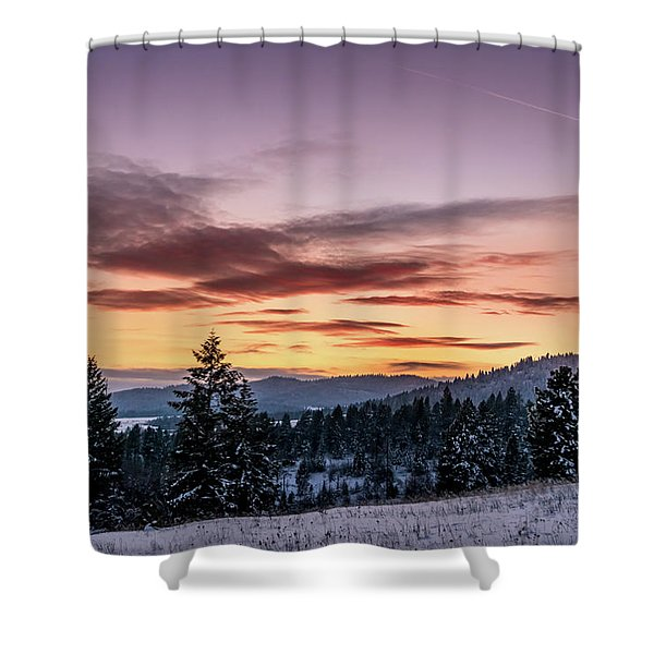Shower Curtain featuring the photograph Sunset And Mountains by Lester Plank
