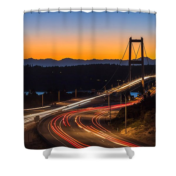 Sunset And Streaks Of Light - Narrows Bridges Tacoma Wa Shower Curtain