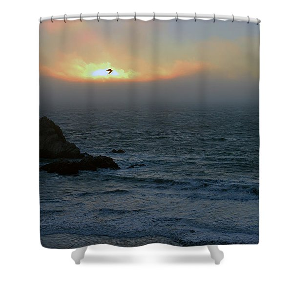 Sunset With The Bird Shower Curtain