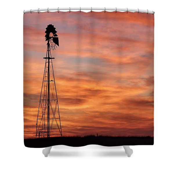 Sunset And Windmill 04 Shower Curtain