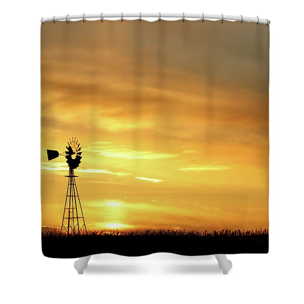 Shower Curtain featuring the photograph Sunset And Windmill 11 by Rob Graham