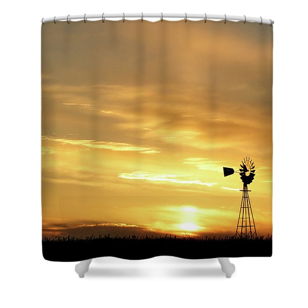 Shower Curtain featuring the photograph Sunset And Windmill 13 by Rob Graham