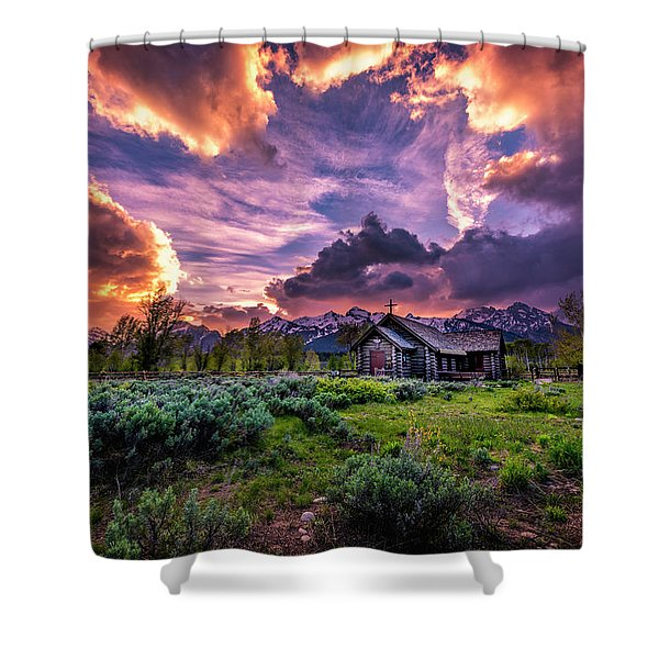 Sunset At Chapel Of Tranquility Shower Curtain