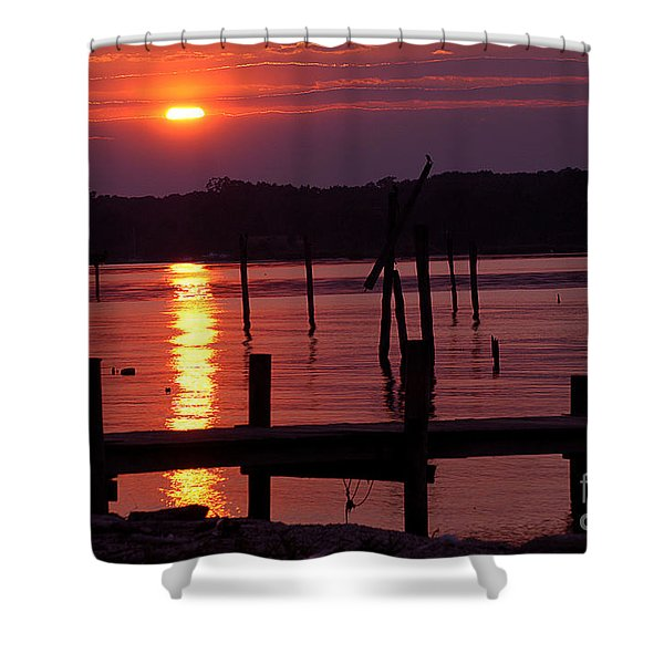 Sunset At Colonial Beach Shower Curtain