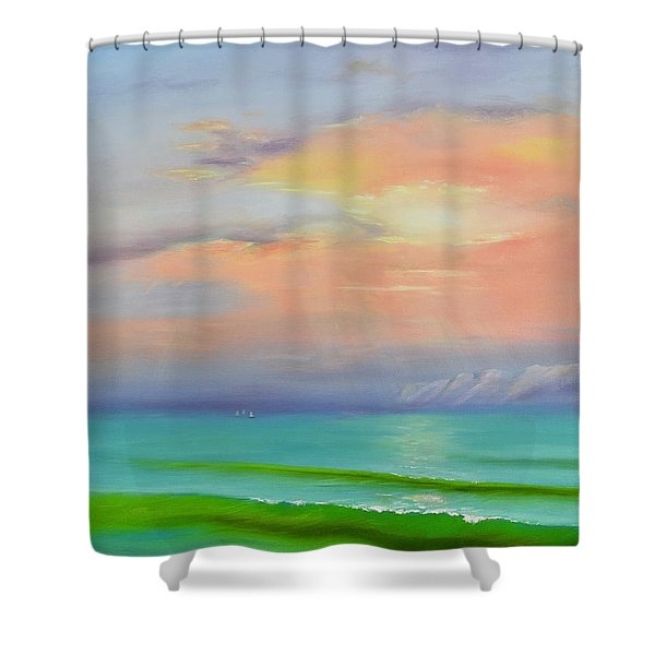 Shower Curtain featuring the painting Sunset At Dana Point  by Mary Scott
