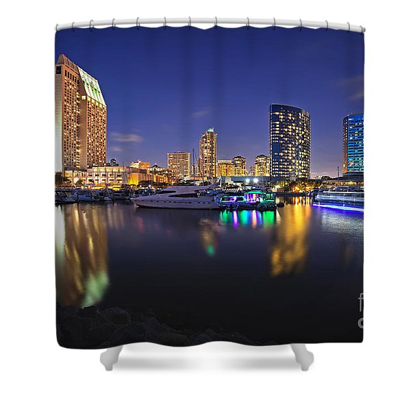 Sunset At Embarcadero Marina Park In San Diego Shower Curtain