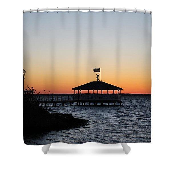 Sunset At Fagers Island Gazebo Shower Curtain