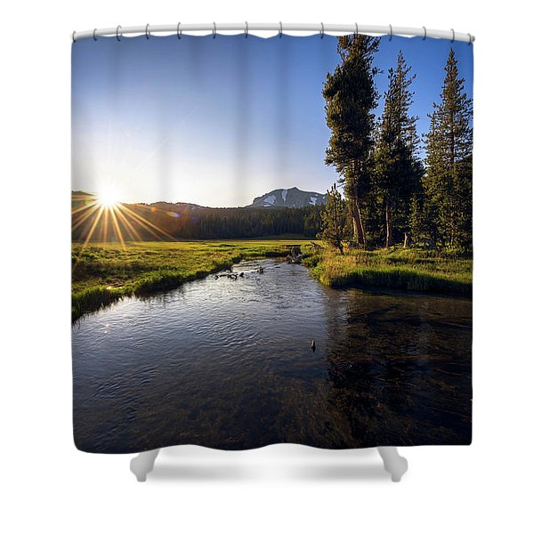 Sunset At Kings Creek In Lassen Volcanic National Shower Curtain