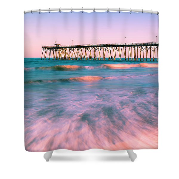 Shower Curtain featuring the photograph Sunset At Kure Beach Fishing Pier Panorama by Ranjay Mitra