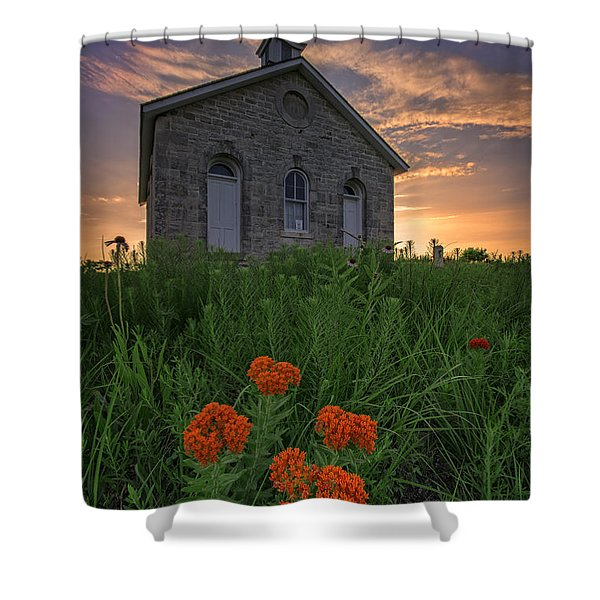 Sunset At Lower Fox Creek Schoolhouse Shower Curtain