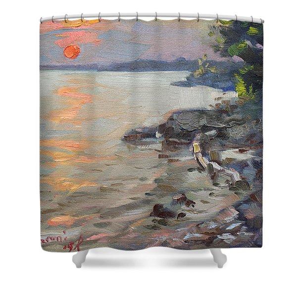 Sunset At Niagara River Shower Curtain