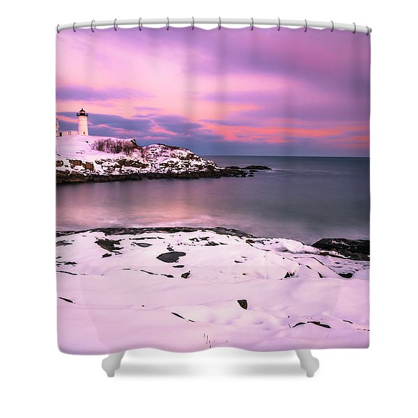 Shower Curtain featuring the photograph Sunset At Nubble Lighthouse In Maine In Winter Snow by Ranjay Mitra