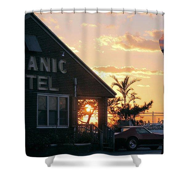 Sunset At Oceanic Motel Shower Curtain