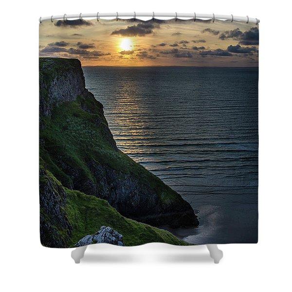 Sunset At Rhossili Bay Shower Curtain