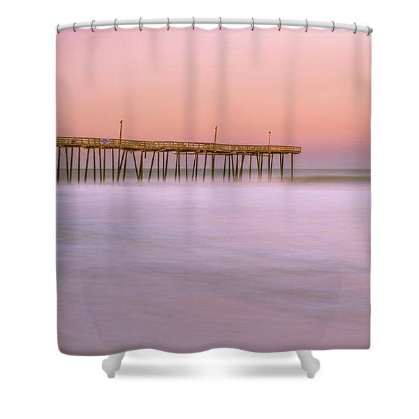 Shower Curtain featuring the photograph Sunset At Rodanthe Fishing Pier In Obx Panorama by Ranjay Mitra