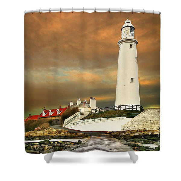 Sunset At Saint Mary's Lighthouse Shower Curtain