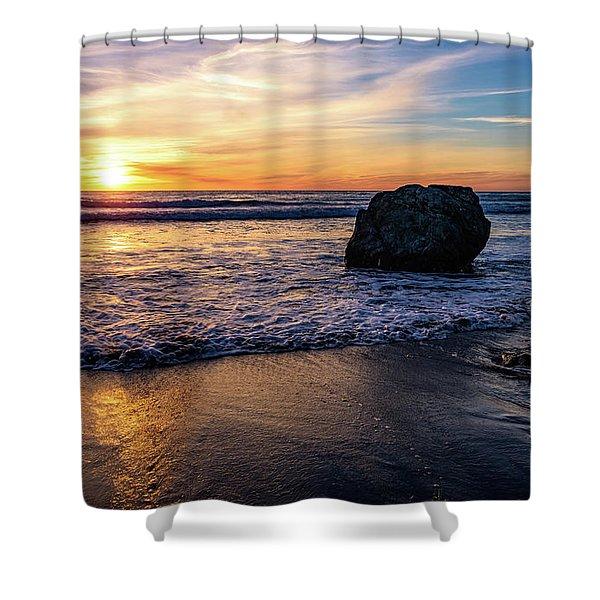 Sunset At San Simeon Beach Shower Curtain