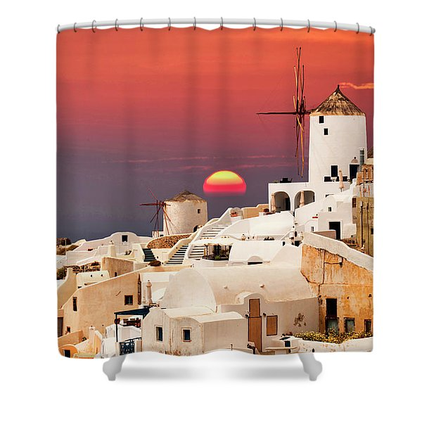 sunset at Santorini Shower Curtain
