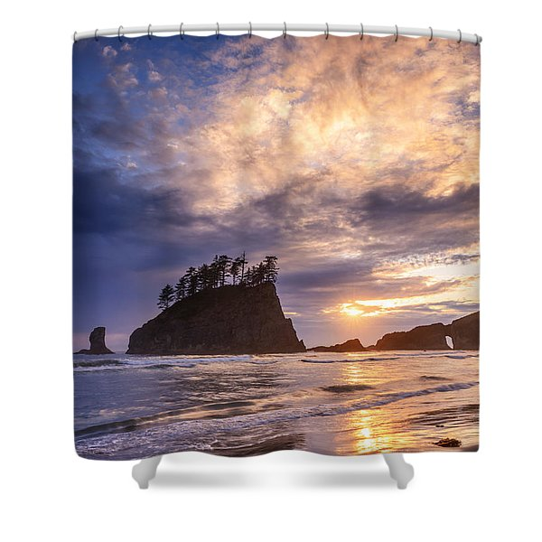 Sunset At Second Beach Shower Curtain