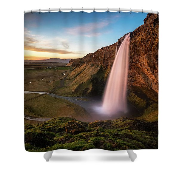Sunset At Seljalandsfoss Shower Curtain