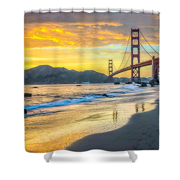 Sunset At The Golden Gate Bridge Shower Curtain