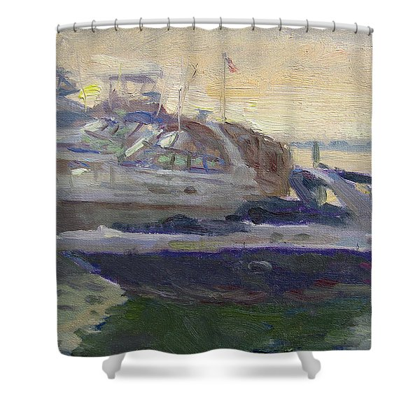 Sunset At The Harbor Shower Curtain