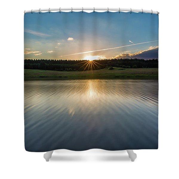 Sunset At The Mandelholz Dam, Harz Shower Curtain
