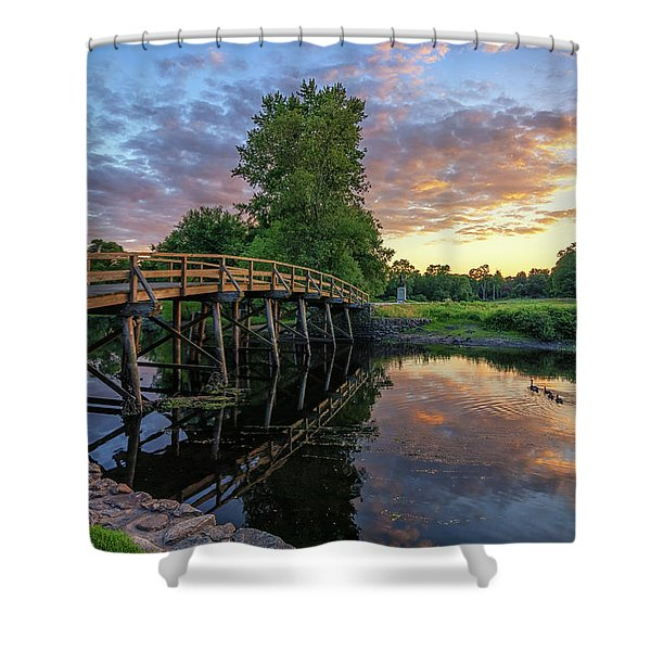Sunset At The Old North Bridge Shower Curtain