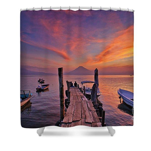 Sunset At The Panajachel Pier On Lake Atitlan, Guatemala Shower Curtain