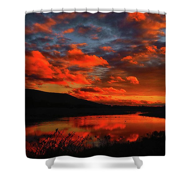 Sunset At Wallkill River National Wildlife Refuge Shower Curtain