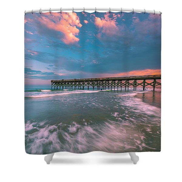 Sunset At Wilmington Crystal Pier In North Carolina Shower Curtain