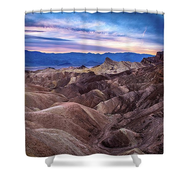 Sunset At Zabriskie Point In Death Valley National Park Shower Curtain