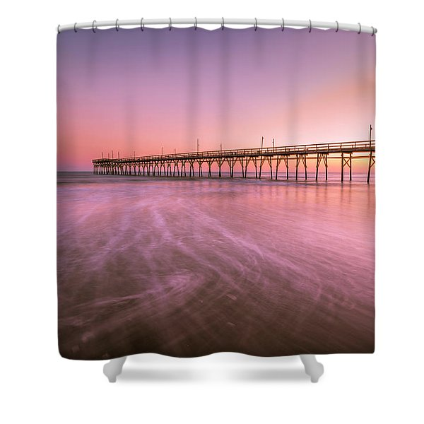 Shower Curtain featuring the photograph Sunset Beach Fishing Pier In The Carolinas At Sunset by Ranjay Mitra