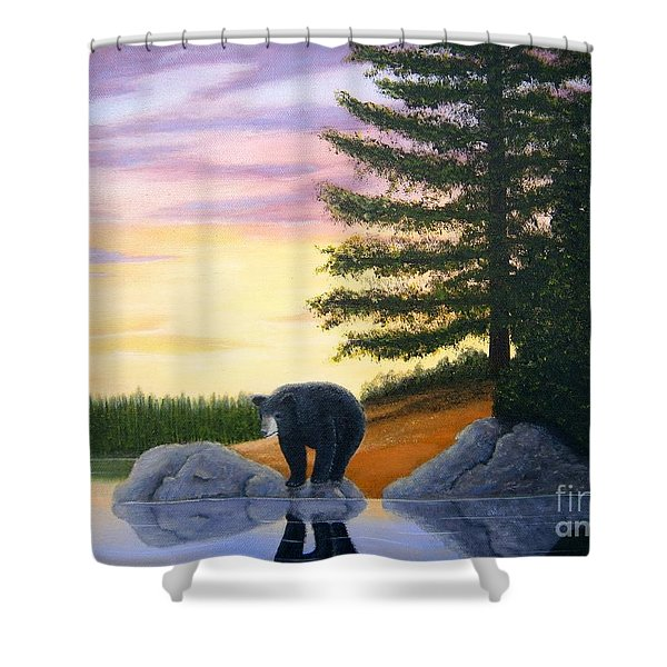 Shower Curtain featuring the painting Sunset Bear by Tracey Goodwin