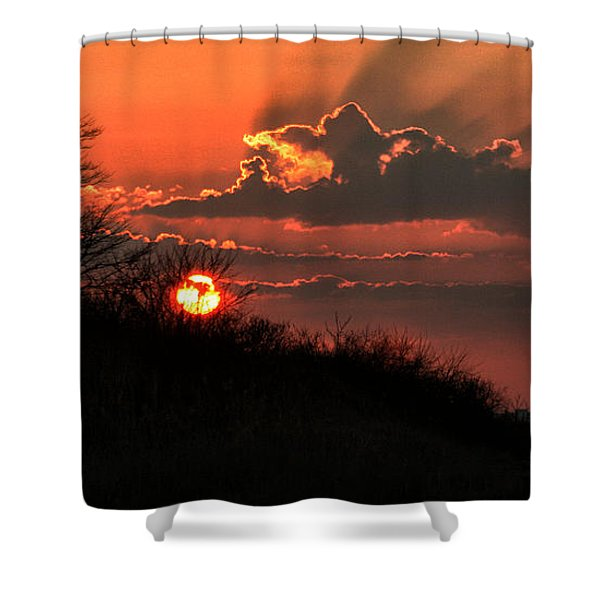 Shower Curtain featuring the photograph Sunset Behind A Knoll by William Selander