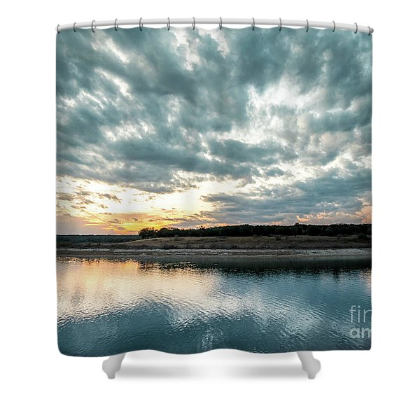 Sunset Behind Small Hill With Storm Clouds In The Sky Shower Curtain