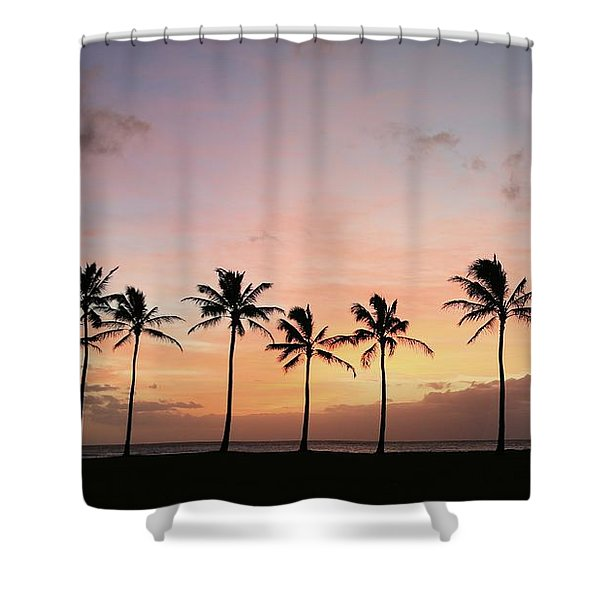 Sunset Behind The Palms Shower Curtain