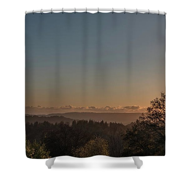 Sunset Behind Tree With Forest And Mountains In The Background Shower Curtain