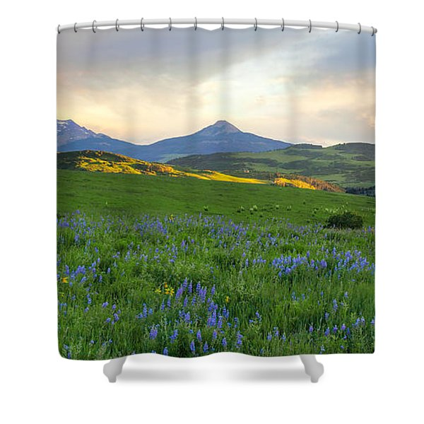 Sunset Below The Peaks Shower Curtain