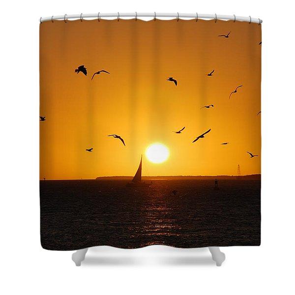 Sunset Birds Key West Shower Curtain by Susanne Van Hulst