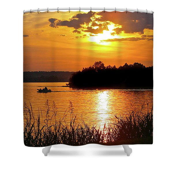 Sunset Boater, Smith Mountain Lake Shower Curtain