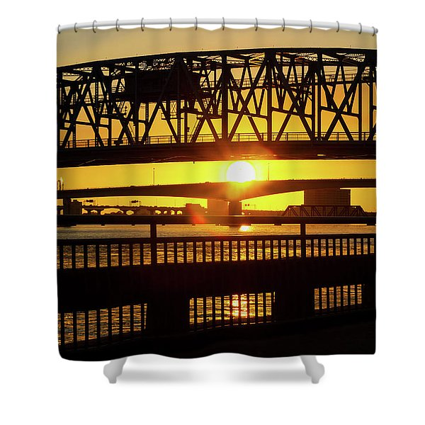Sunset Bridge 3 Shower Curtain