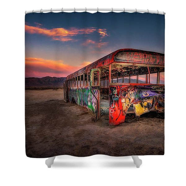 Sunset Bus Tour Shower Curtain